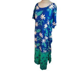 IndoInk Vintage Hawaiian Muumuu Maxi Dress Blue